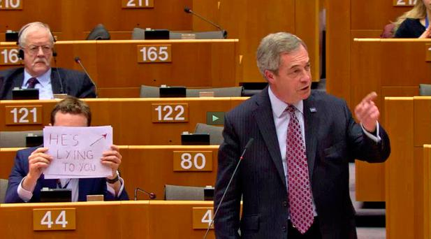 Screen grabbed image taken from European Parliament TV of Nigel Farage. Photo: TV/PA Wire
