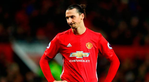Zlatan Ibrahimovic looks frustrated during tonight's game at Old Trafford