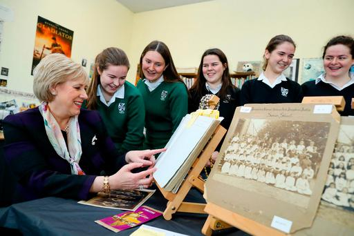 Arts Minister Heather Humphreys launches the online genealogy toolkit with Muckross College students (from left) Niamh Grimes-Dooley, Rosie Ferry, Tuathla Greene, Lara Pairceir and Caroline Gough Photo: Maxwells