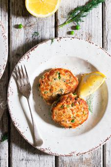 Indy Power's salmon pea cakes