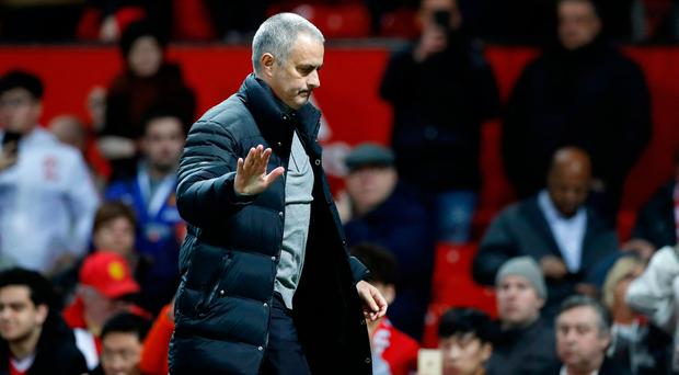 Manchester United manager Jose Mourinho reacts after the final whistle. Photo: PA