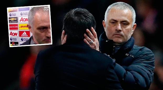 Manchester United manager Jose Mourinho and Hull City manager Marco Silva and (inset) he storms out of interview