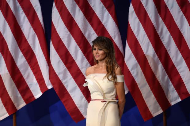 First Lady Melania Trump is seen the Salute to Our Armed Services Inaugural Ball at the National Building Museum in Washington, DC, January 20, 2017. / AFP / SAUL LOEB (Photo credit should read SAUL LOEB/AFP/Getty Images)