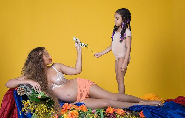 Beyonce shared this photo of her bump with daughter Blue Ivy. Picture: Beyonce