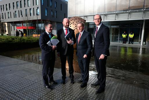 Damien English TD, Professor Philip Nolan, Taoiseach Enda Kenny and Minister Simon Coveney at the launch of 'Ireland 2040 Our Plan' Photo: Damien Eagers