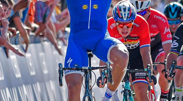 Germany's Marcel Kittel, from Quick-Step Floors Team from Belgium, after winning stage 1