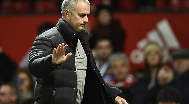 Manchester United's Portuguese manager Jose Mourinho reacts as he leaves following the English Premier League football match between Manchester United and Hull City at Old Trafford in Manchester, north west England, on February 1, 2017. The match ended in a draw at 0-0. / AFP / Oli SCARFF
