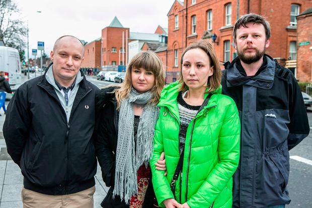 Marta Herda's Sister Monika Lyzwa (second left ) with friends from left Rafal Czekaj, Katarzyna Blaszczyk and Mariusz Blaszczyk outside the Dochas Prision where Marta is held.
