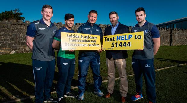 Connacht Rugby recently announced Pieta House as its official charity partner for 2017. At the announcement were (from left) Eoin Griffin, Stacey Ili, Pat Lam, Pieta House CEO Brian Higgins and Cian Kelleher Picture: INPHO/Ryan Byrne