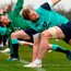 Jamie Heaslip leads the Ireland squad through their stretching routine in Carton House yesterday Photo by Seb Daly/Sportsfile