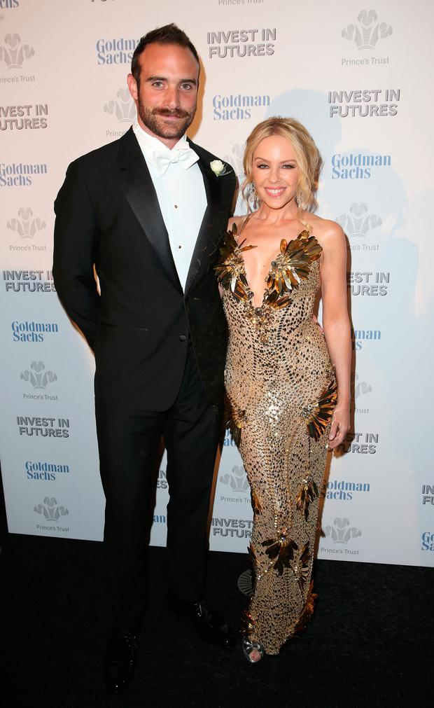 Kylie Minogue and Joshus Sasse attend a pre-dinner reception for the Prince's Trust Invest in Futures Gala Dinner at The Old Billingsgate on February 4, 2016 in London, England