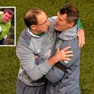 Roy Keane celebrates with Martin O'Neill and (inset) Keane with Quinn during their Ireland days