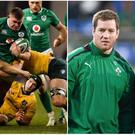 Tadhg Furlong (left), and Michael Bent with Declan Kidney (right).