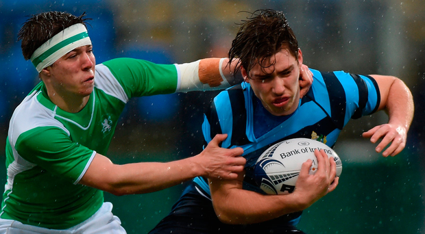 Robert O'Meara of Castleknock College in action against Brian O'Donnell of Gonzaga College during the Bank of Ireland Leinster Schools Senior Cup Round 1 match. Photo: Matt Browne/Sportsfile