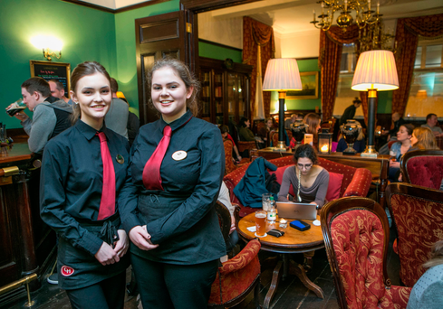 Staff members Aoife Coyne and Zuleika Monaghan staff in the Library Bar of the Central Hotel in Dublin Picture: Kyran O'Brien