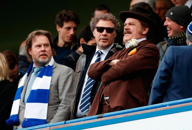 Actors Will Ferrell and John C. Reilly in the stands