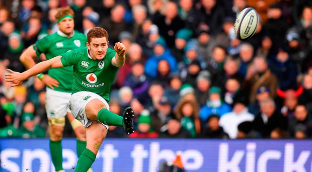 Paddy Jackson of Ireland kicks a penalty during the RBS Six Nations Rugby Championship match between Scotland and Ireland at Murrayfield. Photo by Brendan Moran/Sportsfile