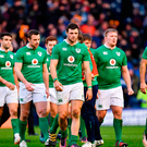 Ireland players, including Robbie Henshaw, centre, following their side's defeat