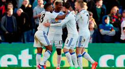 Sunderland's Didier Ibrahim Ndong (second left) celebrates scoring his side's second