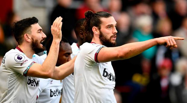 West Ham United's Andy Carroll celebrates scoring their first goal Reuters / Dylan Martinez Livepic