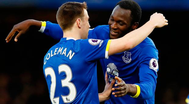 Everton's Romelu Lukaku celebrates scoring their fifth goal with Seamus Coleman