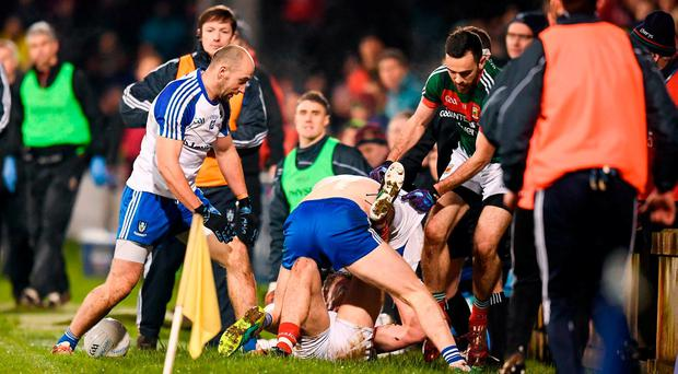 Mayo and Monaghan players tussle during the Allianz Football League Division 1 Round 1 match between Mayo and Monaghan at Elverys MacHale Park in Castlebar, Co Mayo. Photo by Stephen McCarthy/Sportsfile