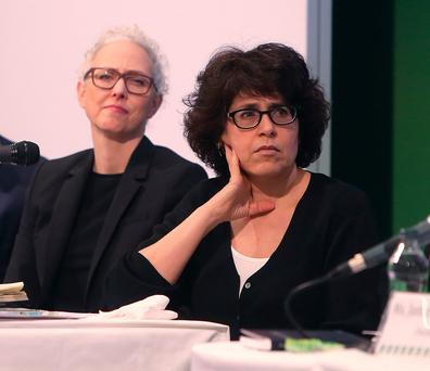 Discussion: Gilda Sedgh, Guttmacher Institute, and Dr Patricia Lohr, BPAS, at the Citizens' Assembly. Photo: Damien Eagers