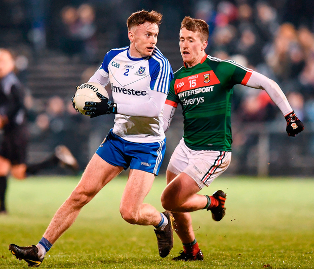 Monaghan's Fintan Kelly in action against Cillian O'Connor of Mayo. Photo: Stephen McCarthy/Sportsfile
