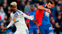 Crystal Palace's Joe Ledley and Sunderland's Didier Ibrahim Ndong (left) battle for the ball. Photo: Jonathan Brady/PA