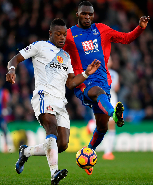 Sunderland's Lamine Kone in action with Crystal Palace's Christian Benteke. Photo: Tony O'Brien/Reuters