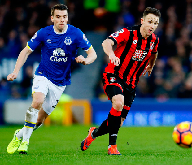 Everton's Seamus Coleman in action with Bournemouth's Marc Pugh. Photo: Jason Cairnduff/Reuters