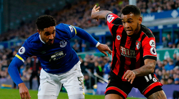 Everton's Ashley Williams in action with Bournemouth's Joshua King. Photo: Andrew Yates/Reuters