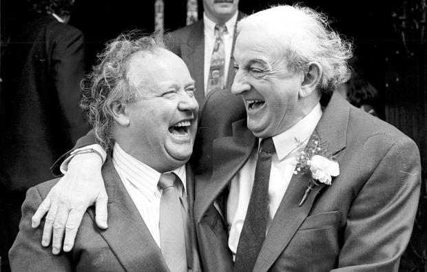 Laughter is the best medicine: Brendan Kennelly and the late John B Keane in Listowel, Co Kerry. Photo: Don MacMonagle