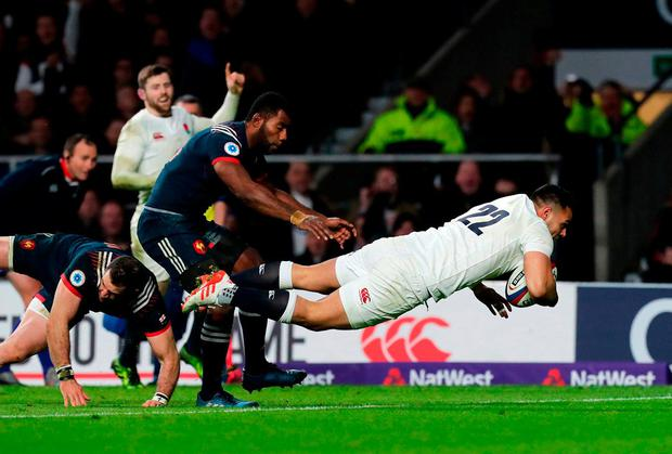 England's Ben Te'o scores a try. Photo: Gareth Fuller/PA Wire