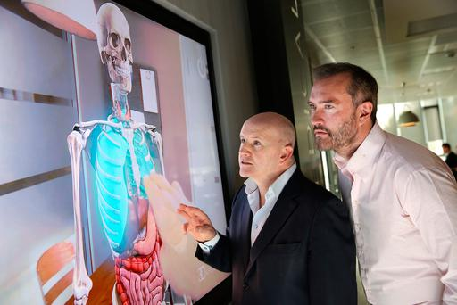 Sean Gallagher and John Moore, CEO of 3D4medical. Photo: Gerry Mooney