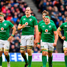 Ireland players, from left, Jamie Heaslip, Devin Toner, Iain Henderson, CJ Stander and Sean O'Brien during the RBS Six Nations Rugby Championship match between Scotland and Ireland at BT Murrayfield Stadium in Edinburgh, Scotland. Photo by Ramsey Cardy/Sportsfile