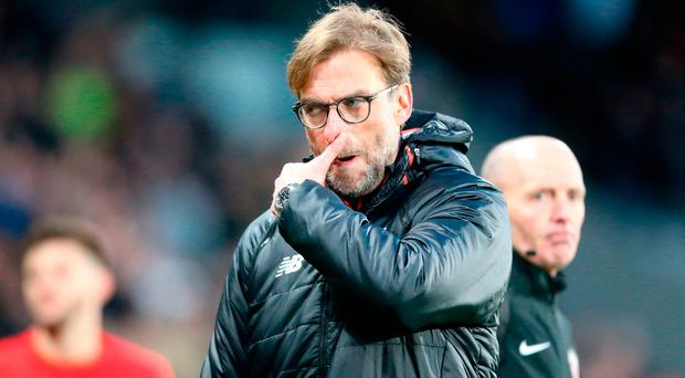 Liverpool manager Jurgen Klopp reacts after the final whistle during the Premier League match at the KCOM Stadium