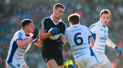 Paul Mannion of Dublin in action against Fergal Reilly, left, Conor Moynagh, centre, and Shane Tierney of Cavan
