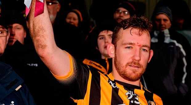 Richie Hogan of Kilkenny lifts the Walsh Cup following his side's victory during the Bord na Mona Walsh Cup Final match between Kilkenny and Galway at Nowlan Park in Kilkenny. Photo by Seb Daly/Sportsfile
