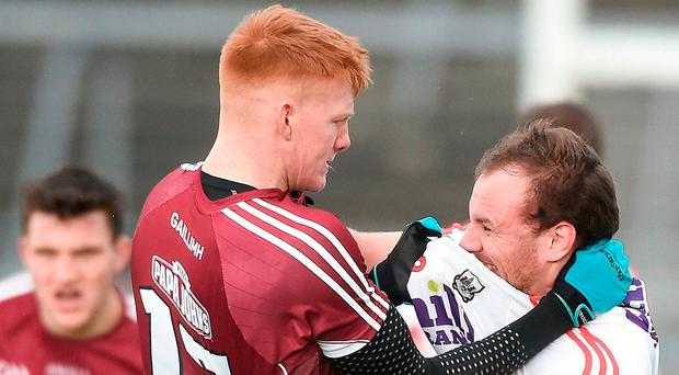 Brian O'Driscoll of Cork tussles with Peter Cooke of Galway during the Allianz Football League Division 2 Round 1 match between Galway and Cork at Pearse Stadium in Galway. Photo by David Maher/Sportsfile