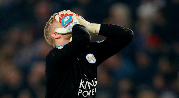 Leicester City's Kasper Schmeichel looks dejected. Reuters / Darren Staples