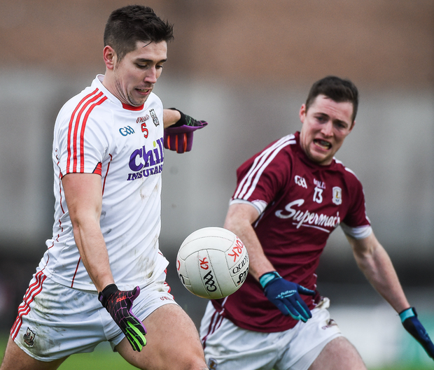 Cork's Conor Dorman in action against Danny Cummins of Galway during their Allianz Football League Division 2 Round 1 match at Pearse Stadium in Galway. Photo: David Maher/Sportsfile