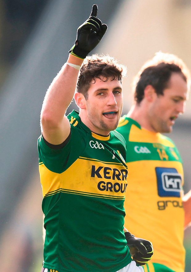 Paul Geaney of Kerry celebrates after scoring his side's second goal Photo: Stephen McCarthy/Sportsfile