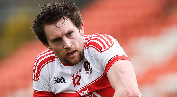 James Kielt's last-gasp point earned a share of the spoils for Derry. Photo: Oliver McVeigh/Sportsfile