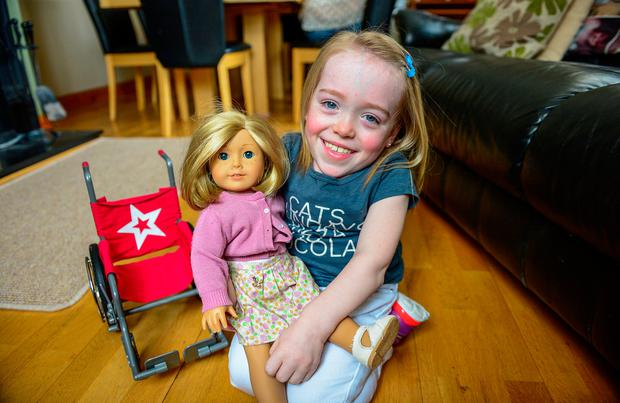 Grace Cogan (9), from Carrickmacross, Co Monaghan, suffers from a rare, painful condition called Morquio which has left her just the same size as a two or three-year-old. Photo: Ciara Wilkinson