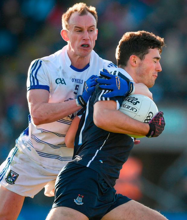 Dublin's Colm Basquel in action against Martin Reilly of Cavan Photo: Ray McManus/Sportsfile