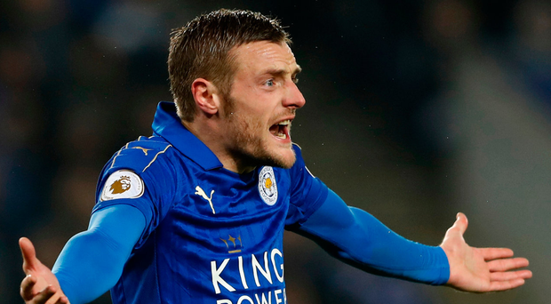Leicester City's Jamie Vardy feels the pain during yesterday's defeat. Photo: Carl Recine/Reuters