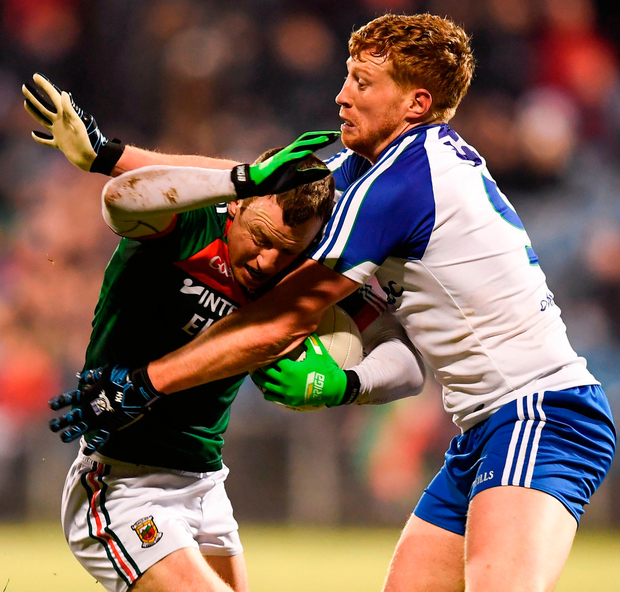 Colm Boyle finds his path blocked by Monaghan's Kieran Murphy during Mayo's defeat in Castlebar Photo: Stephen McCarthy/Sportsfile