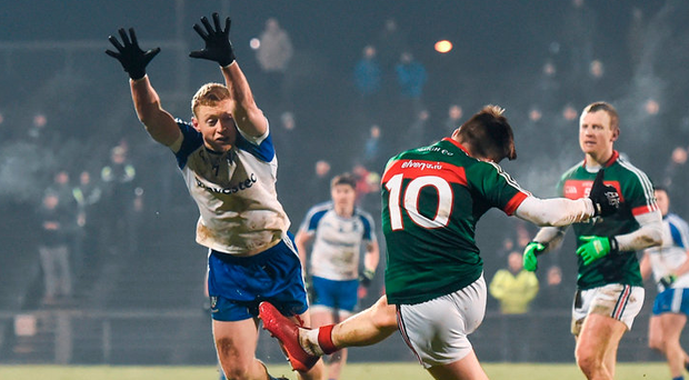 Fergal Boland of Mayo has a kick at the posts Photo: Stephen McCarthy/Sportsfile