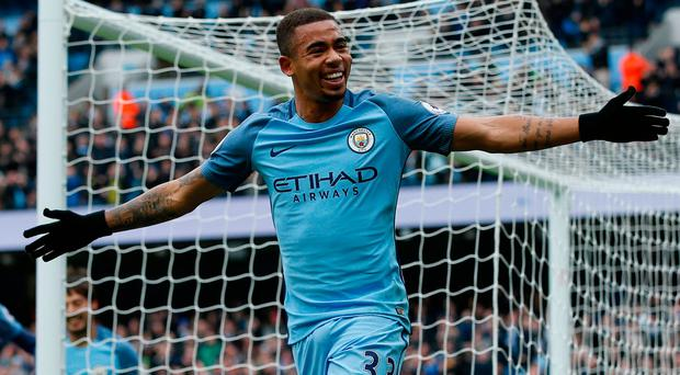 Manchester City's Gabriel Jesus celebrates scoring their first goal. Photo: Andrew Yates/Reuters